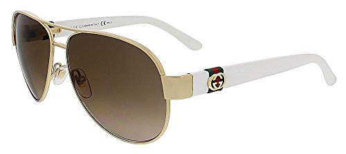 Gucci Women's GG 4282/S Gold White/Brown - Aviators Womens Gucci