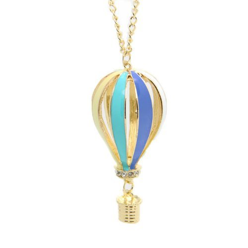 KMG Women Alloy Hot Air Balloon Pendant Gold Tone Chain Necklace