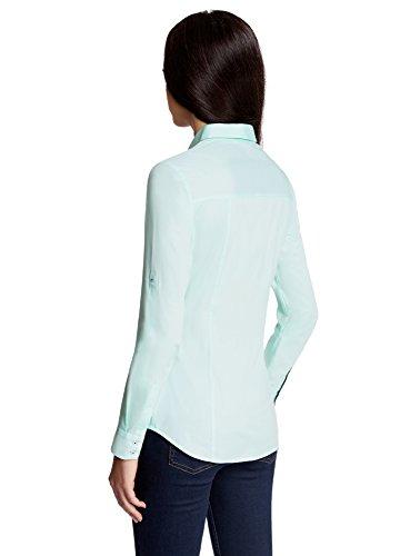 oodji Ultra Mujer Camisa Entallada con Bolsillos en el Pecho Verde (6500N)