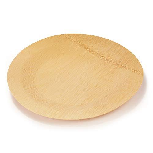 BambooMN Brand - 11 (28cm) Round Disposable Bamboo Veneer Plates, 24pcs