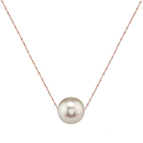 (14K Gold 10-11mm Freshwater Cultured Floating Pearl Tin Cup Chain Necklace Jewelry for Women 17