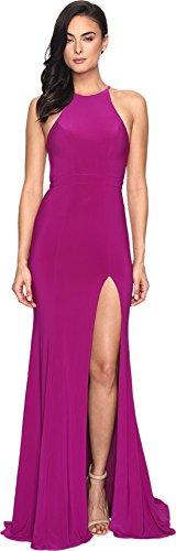 Faviana Women's Jersey Halter w/ Back Cut Out 7976 Wild Orchid Dress