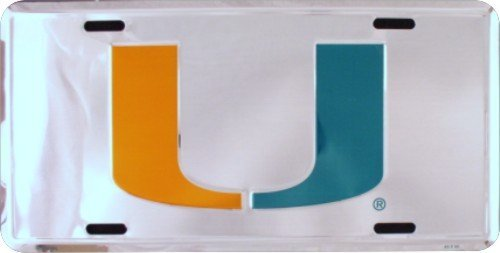 HangTime MIAMI HURRICANES Super Stock Metal License Plate 6 x 12