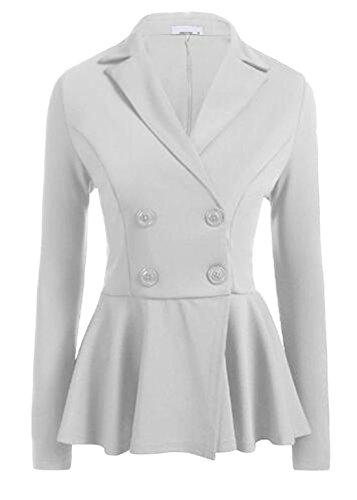 UUYUK-Women Double Breasted Lapel Long Sleeve Pleated Solid Blazer Jacket White US XS (Double Pleated Corduroy)