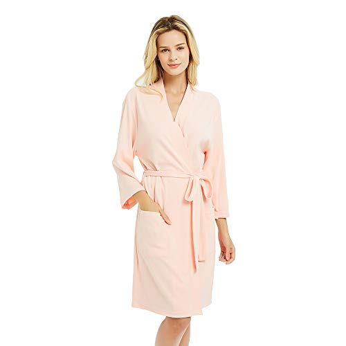 Kimono Lady Pink - U2SKIIN Kimono Bathrobe for Women with 3/4 Sleeves, Lightweight Cotton Short Robe Ladies Longewear for SPA Bathing Wedding ... Pink