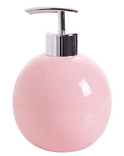 Dispenser Soap Pink (Jusalpha Soap Dispenser - Made of Fine China with a Glossy Finish - Perfect for the Bathroom or Kitchen (Pink))