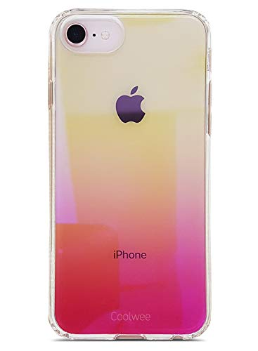 Double Gradient Gold Mirror - Coolwee iPhone 7 Case,iPhone 8 Case Clear iPhone 6s Colorful Mirror Finish Luxury Transparent Hard Back Cover Bumper Shiny Glitter Cool Slim Fit Protective for Apple iPhone 8 iPhone 7 iPhone 6s Pink