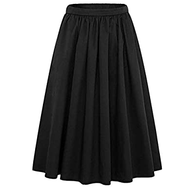 YSJERA Women's Pleated A Line Flared Solid Color Long Midi Swing Skater Skirts