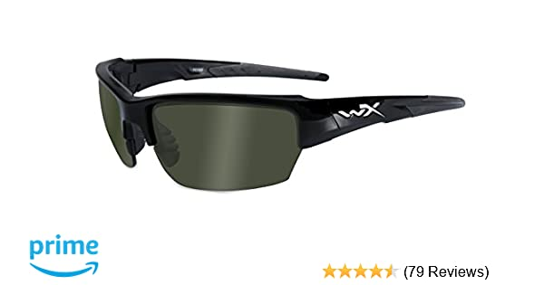 Amazon.com: Wiley X WX Saint Glasses Polarized Smoke Green Lens Gloss Black Frame: Sports & Outdoors