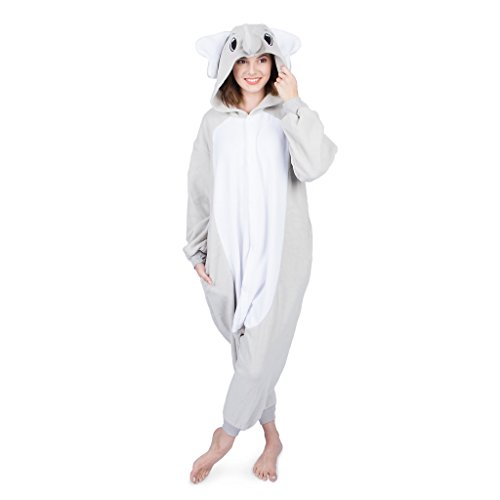 Emolly Fashion Adult Elephant Animal Onesie Costume Pajamas for Adults and Teens (Small, Gray) -