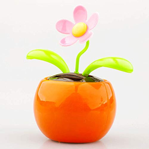 Home Decorating Solar Power Flower Plants Moving Dancing Flowerpot Swing Solar Car Toy Gift Metal Plastic Interior Accessories