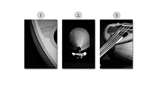 Black and White Music Photography on CANVAS Mandolin Photo Set Musical Stringed Instrument Fine Art Prints Home Decor Gift for Musician One Two or Three Ready to Hang 8x12 12x18 16x24 20x30