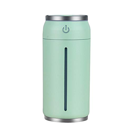 Conscience wang Creative Home Office Desktop Mini USB air humidifier car Bedroom air Conditioning Room Yoga Portable humidifier Supersonic Colorful Cool Flowing Light Gifts for Girls, Light Green ()