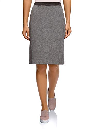 oodji Ultra Women's Pencil Skirt with Elastic Waistband, Grey, 10 by oodji
