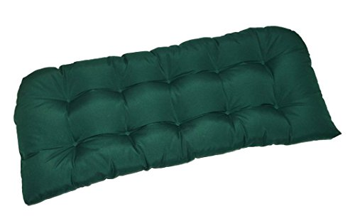 Indoor / Outdoor Cushion for Wicker Loveseat Settee - Solid Hunter Green (Hunter Settee)