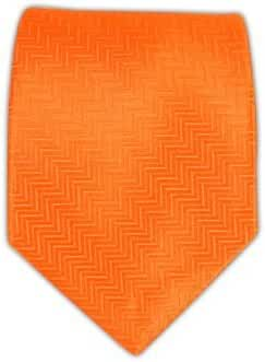 The Tie Bar 100% Woven Silk Solid Tangerine Herringbone Tie