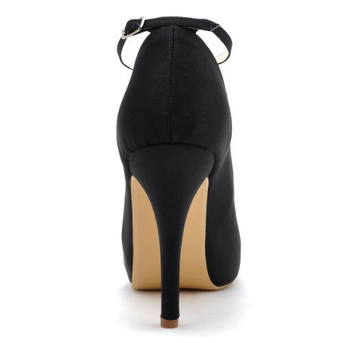 Evening 8 IP Black Platform Toe EP11049 Women High Wedding Straps Closed Shoes US Pumps Ankle Heel Elegantpark PFawTw