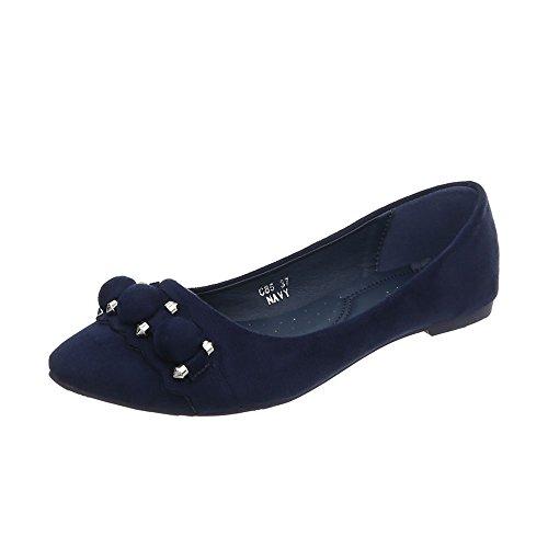 Ital-Design Women's Ballet Flats Block Heel Classic Ballet Flats Dark Blue C85 MECqRK
