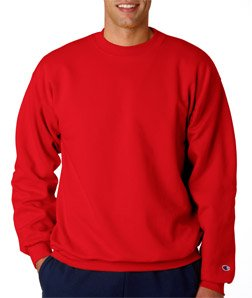 Mens Crew Red Logo Sweatshirt (Champion Adult 50/50 Crewneck Sweatshirt, Red - Size 2X-Large)