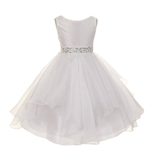 DreamHigh Wedding Flower Girls Crystals Waist Taffeta Pageant Dress White 10T