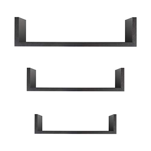 Floating Shelves, Bathroom or Living Room Wall Decor, Walnut (3-Shelf -