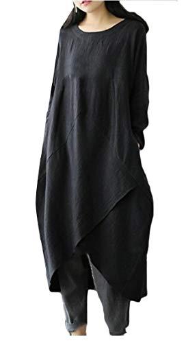 Black Pockets Casual Sleeve Women Cotton Linen Long Soft Jaycargogo Loose Dress Maxi with 7HPnxgRgOq