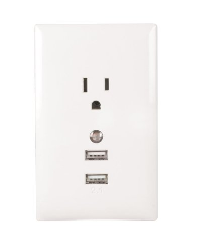 RCA WP2UNLWF USB Wall Plate with Night Light - White by RCA