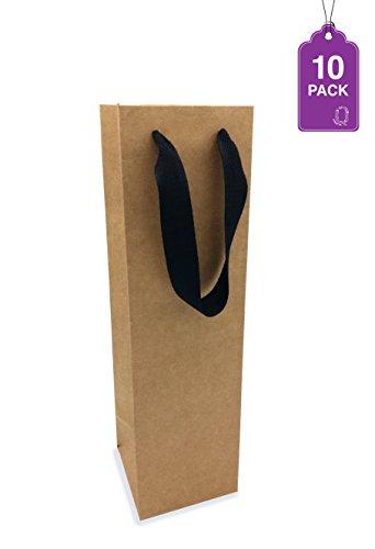 Wine Bag, Brown Kraft 10 Pack. for Wine Bottles, Whisky/Spirits, Reusable Bag, Laminated for Extra Strength. (Kraft Bottle)