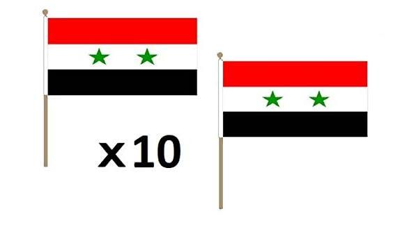 AZ FLAG Bandera de Siria 45x30cm con Palo de Madera - Lote de 10 ...