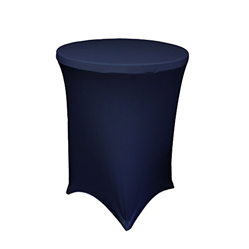 LA Linen Spandex Round Tablecloth for Cocktail Table, 36 by 42-Inch, Navy Blue