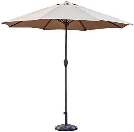 パラソル9フィートの屋外パティオマーケットテーブルの傘、クランク付きポータブルサンシェルター、ガーデンデッキの裏庭のプールサイド