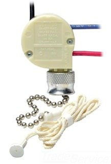 Leviton 1689-50 Appliance Pull Chain Switch, 3/6A, 125V, 2 Circuit, LOW-MED-HIGH-OFF