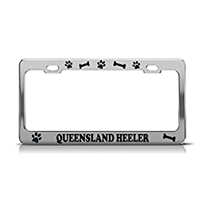 Product Express Queensland Heeler Dog Paw Print License Plate Frame Tag Cover & Holder Chrome 18