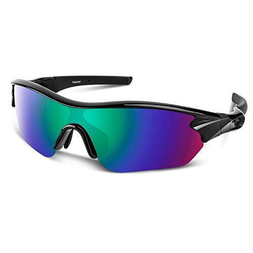 Polarized Sports Sunglasses for Men Women Cycling Running Driving Fishing Golf Baseball Motorcycle Glasses (Glossy Black ()