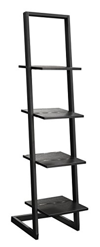 Convenience Concepts 4 Tier Ladder Bookshelf, Black