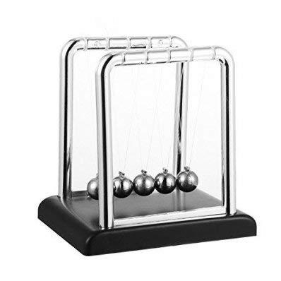 Toys4boys Pendolo di Newton Cradle con piedistallo,Balance Ball, Altezza con Base: 18 cm
