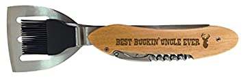 Birthday Gift for Uncle Best Buckin Uncle Ever BBQ Grill Multi Tool Barbecue Spatula Deer Head