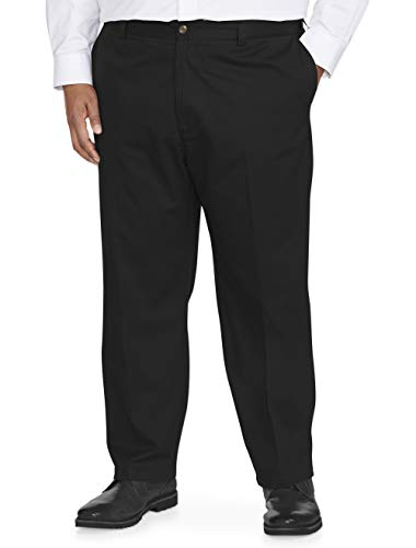 (Amazon Essentials Men's Big & Tall Loose-fit Wrinkle-Resistant Flat-Front Chino Pant fit by DXL, Black, 52W x 28L)