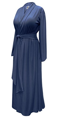 Sanctuarie Designs Solid Navy Plus Size Supersize Poly/Cotton Robe With Attached Belt - Belt Attached