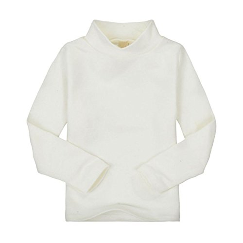 Terryws Baby Boys Girls Cotton Long-Sleeved T-Shirt Bottoming Shirt Children's Autumn Winter Turtleneck Tops Clothing Beige - Girls Turtleneck Sleeved Top Long