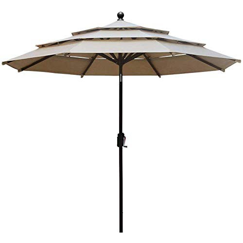 EliteShade Fadesafe 9ft 3 Tiers Market Umbrella Patio Outdoor Table Umbrella with Ventilation, Beige
