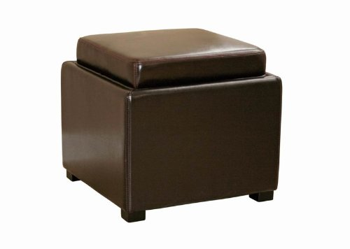 Wholesale Interiors Leather Ottoman (Wholesale Interiors Baxton Studio Dark Brown Leather Ottoman with Reversible Tray-Top)