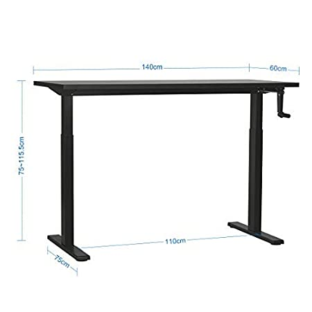 DEVAISE Height Adjustable Standing Desk with Side Crank Handle; 140cm Wide Black