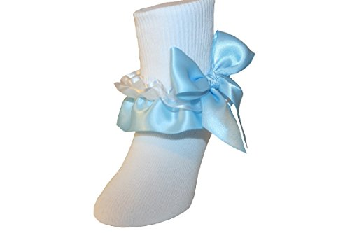 Girls Ruffle Ankle Socks with Satin Organza & Bows in Assorted Colors (9-11 Girls, Light - Ruffle Socks Organza