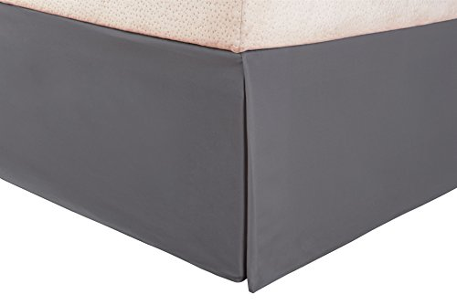 Superior 1500 Series 100% Microfiber Pleated Twin XL Bed Skirt Solid, Silver - 15 Inch Drop and Wrinkle Resistant