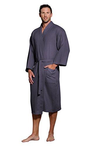 Jual Turquaz Linen Lightweight Long Waffle Kimono Spa Robe for Men ... c1f1a5786