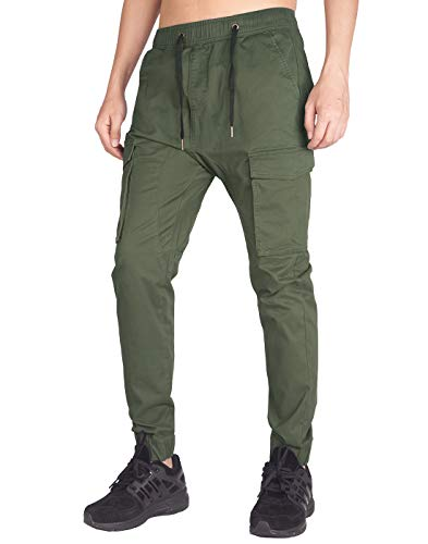 ITALY MORN Men's Jogger Cargo Pants Elastic Waist (Army Green, XL)