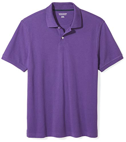 (Amazon Essentials Men's Slim-Fit Cotton Pique Polo Shirt, Purple, Small)