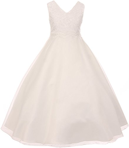 Big Girl Elegant Lace Satin Formal First Communion Flower Girl Dress USA Ivory 16 KD -