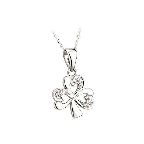 Shamrock Necklace 14K White Gold & Diamond Irish Made by Solvar
